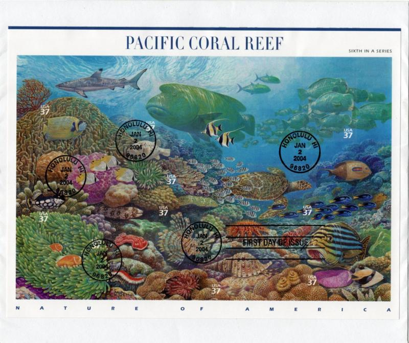 U.S. #3831 Pacific Coral Reef - Full Sheet First Day of Issue on Large Envelope