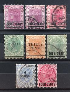 Malaya Straits Settlements 1885-99 QV overprints 8V Used M1903