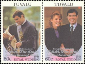 Tuvalu #389-390, Complete Set(2), Pairs, 1986, Royality, Never Hinged