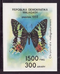 Madagascar Malagasy-Sc#1087-unused NH sheet-Insects-Butterflies-1992-