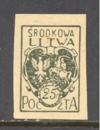 Central Lithuania  Sc # 2 mint hinged – imperforate  (DT)