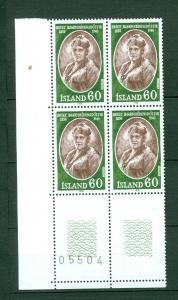 Iceland. 1977 Icelanders II, 60 Kr,MNH. Plate # O5504. Block of 4. Scott# 505.