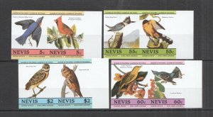 LED08 IMPERF NEVIS BIRDS FAUNA LEADERS OF THE WORLD SET MNH