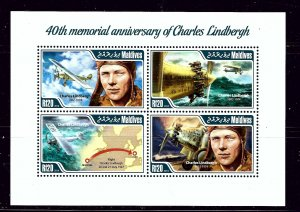 Maldive Is 3105 MNH 2014 40th Memorial Anniv of Charles Lindbergh sheet of 4