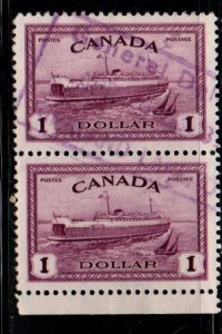 Canada Sc 273 1946 $1 Ferryboat stamp pair  used