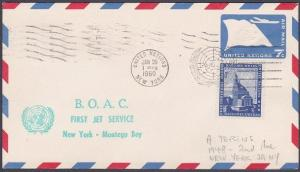 USA UN FRANKING 1960 first flight cover NY to Montego Bay Jamaica...........7139