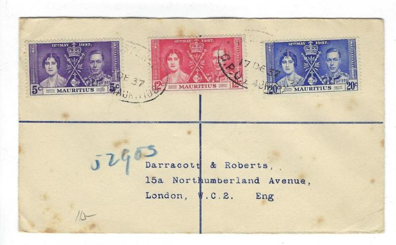 1937 Mauritius To London Cover - With King George Coronation Set (II38)