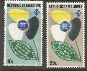 MALDIVES 358-359 MNH, INTL. YEAR AGAINST RACIAL DISCRIMINATION