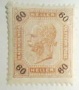 AUSTRIA 1890 Postage Stamp Scott #82 MH Franz Josef Free US Shipping XF