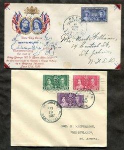 p972 - NEWFOUNDLAND Lot of (2) Covers. 1937 & 1939 Royal Landing