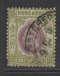 HONG KONG SG72 1903 $1 PURPLE & SAGE-GREEN USED DAMAGED CORNER