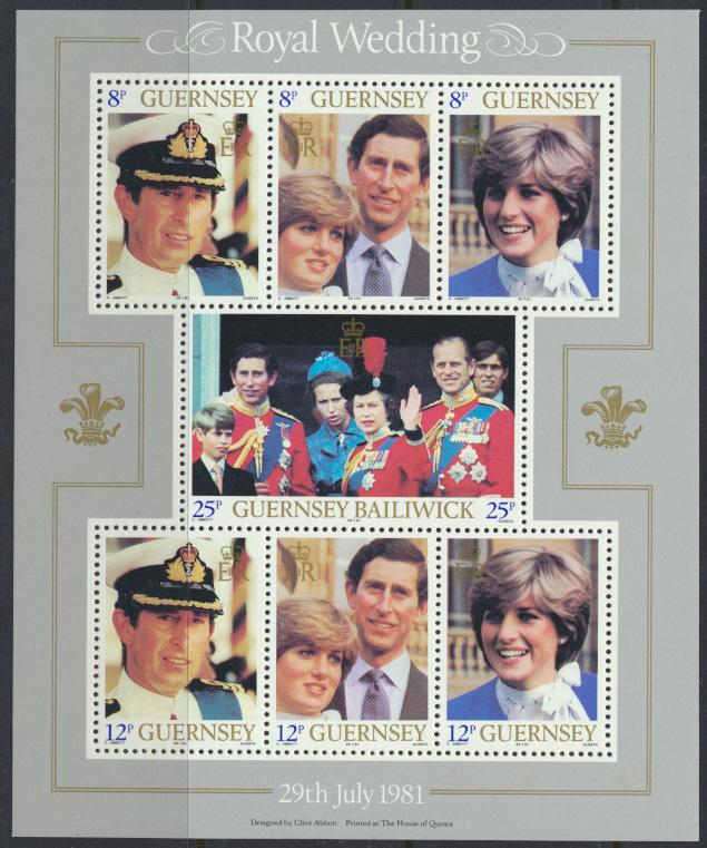 Guernsey SG MS239 SC# 226a strips of 3 MLH Royal Wedding see details