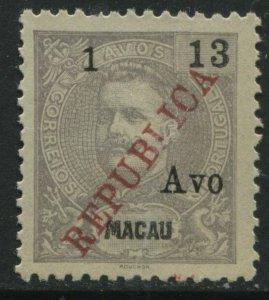 Macao 1913 1a on 13a REPUBLICA unused no gum