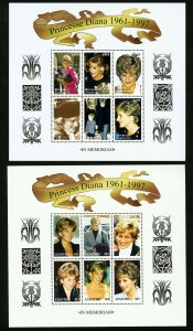 Worldwide Stamps Large Mint Princess Diana Souvenir Sheet Collection