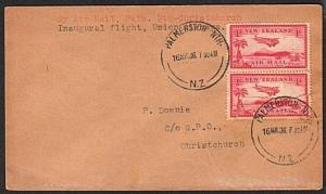 NEW ZEALAND 1936 first flight cover Palmerston North to Christchurch.......16960