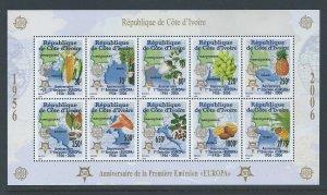 Ivory Coast #1165b NH Europa 50th Anniv. (SS of 10)