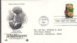 1992, Wildflowers-Ohi'a-Lehua, Artcraft/PCS, FDC (E9004)