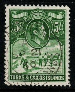 TURKS & CAICOS IS. SG204a 1944 5/= DEEP GREEN USED