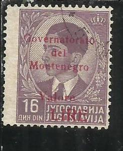 MONTENEGRO 1942 GOVERNATORATO RED OVERPRINTED SOPRASTAMPA ROSSA LIRE 16 D USA...