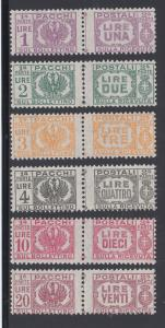 Italy Sc Q55-Q60 MNH. 1946 Parcel Post issue, complete set of pairs, fresh