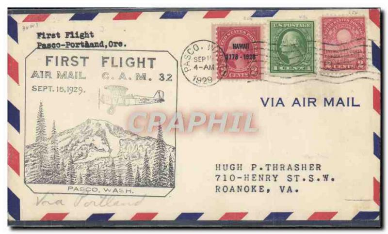 Lettre the United States 1st Flight Pasco Wash to Roanoke Go