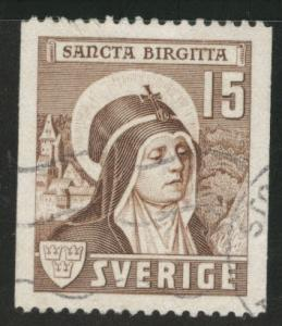 SWEDEN Scott 326 used 1941 coil St. Bridget stamp