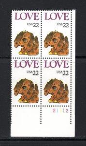 US #2202,  Plate # Block, VF, MNH, Love Issue, CV $2.50 ...... 6785900