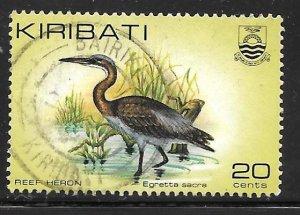 Kiribati 392: 20c Pacific Reef Heron (Egretta sacra), used, VF