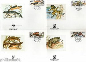 Czechoslovakia 1989 WWF Frog Amphibians Wildlife Fauna Sc 2748-51 Set of 4 FDCs