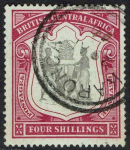 BRITISH CENTRAL AFRICA 1897 ARMS 4/- USED