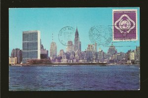 United Nations 3 on Postmarked New York 1951 First Day of Issue Postcard