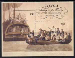 Tonga 1989 Bicentenary of Mutany on Bounty m/sheet opt'd ...