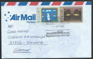 AUSTRALIA 1993 cover to Germany - nice franking - Sydney pictorial pmk.....12811