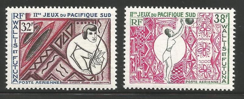 WALLIS & FUTUNA ISLANDS C27-C28, MNH, PAIR OF STAMPS, 2ND SOUTH PACIFIC GAMES...