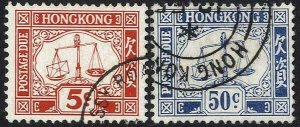 Hong Kong SGD18/D19 set of 2 wmk w12 upright Fine Used Cat 16.50 pounds