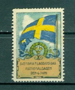 Sweden Poster Stamp 1930. MNG. National Day June 6. Swedish Flag.