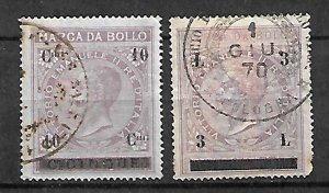 KINGDOM ITALY FISCAL REVENUE TAX 2 STAMPS c1866, KING VEII