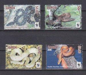 Samoa, 2015 issue. World Wildlife Fund issue. Snakes shown. ^