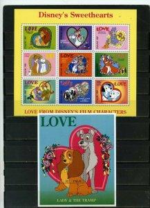 PALAU 1996 Sc#393-394 WALT DISNEY LOVE SHEET OF 9 STAMPS & S/S MNH