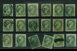 Various cancels on lot of 2c SMALL QUEENS Canada used