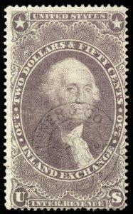 B633 U.S. Revenue Scott #R84c $2.50 Inland Exchange handstamp cancel