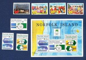 NORFOLK ISLAND - 422-425, 437-439a  - VF MNH - Christmas, Sydpex 1987-1988