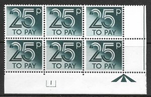 D98 50p 1982 Decimal Postage Due Cyl 3 UNMOUNTED MINT