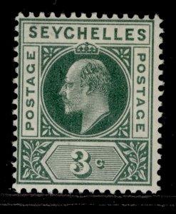SEYCHELLES EDVII SG47, 3c dull green, M MINT.