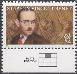 #3221 32c Stephen Vincent Benet 1998 Mint NH