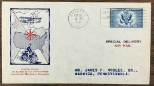 US CE-1 FDC 1934  16 cent  Eagle & Shield, blue Special Delivery.  Ed Kee Cachet