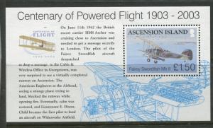 ASCENSION- Scott 833 - Powered Flight -2003 - MNH - Souvenir Sheet