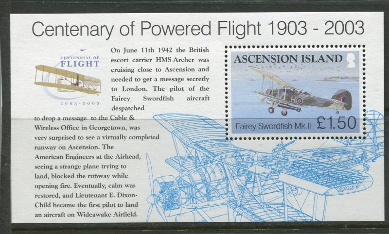 ASCENSION- Scott 833 - Powered Flight -2003 - MNH - Souvenir Sheet