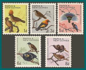 Papua New Guinea 1964 - 1965 Birds, 1d-8d MNH #188-192,SG61-SG65