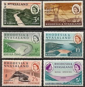 Rhodesia & Nyasaland 172-77 Mint OG 1960 Kariba Gorge